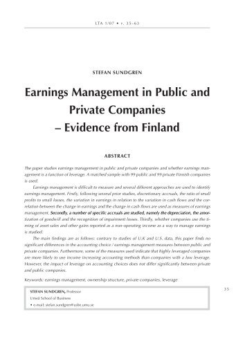 earnings Management in Public and Private companies ... - LTA