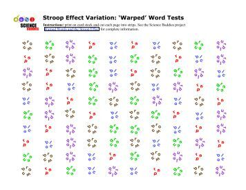 an introduction to the analysis of the stroop effect - introduction: in this stroop experiment we attempt to investigate the inference in perception by showing 20 participants a stroop color model and a controlled black and white model and compare the reaction times of the two.