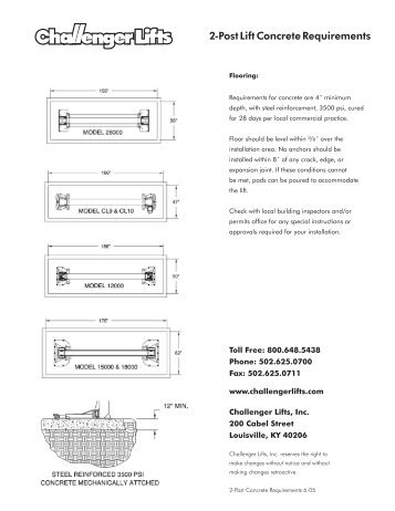2-Post Lift Concrete Requirements - aesco