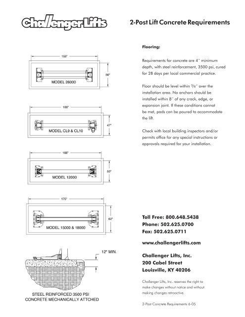 2-Post Lift Concrete Requirements - aesco on
