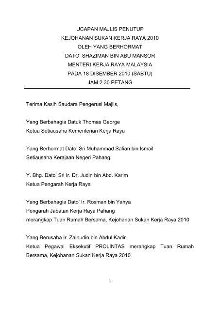 Ucapan Perasmian Pembukaan Kementerian Kerja Raya Malaysia
