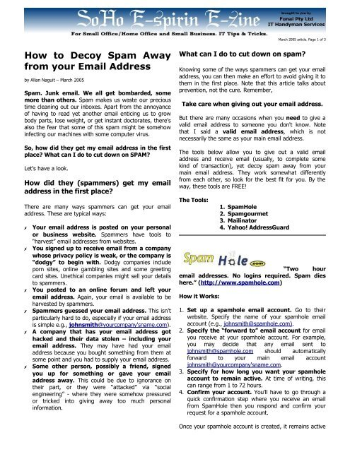 How To Decoy Spam Away From Your Email Address Funai Com Au