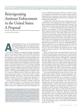 Reinvigorating Antitrust Enforcement in the United States - WilmerHale