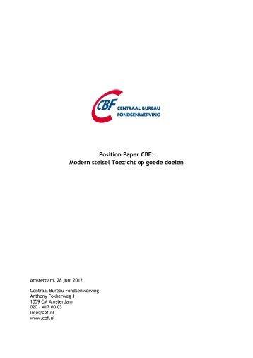 Position Paper CBF: Modern stelsel Toezicht op goede doelen