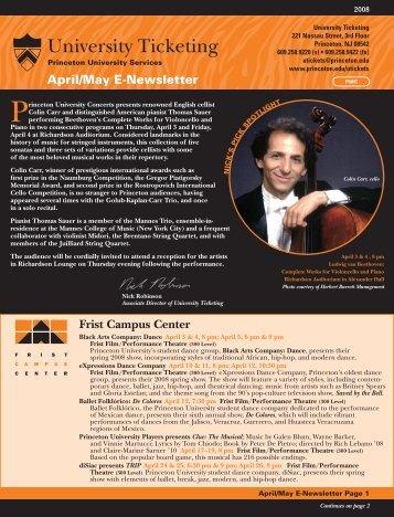 Frist Campus Center April/May E-Newsletter - Princeton University