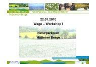 22.01.2010 Wege-Workshop I - Naturpark Hüttener Berge