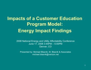 Impacts of a Customer Education Program Model - National Energy ...