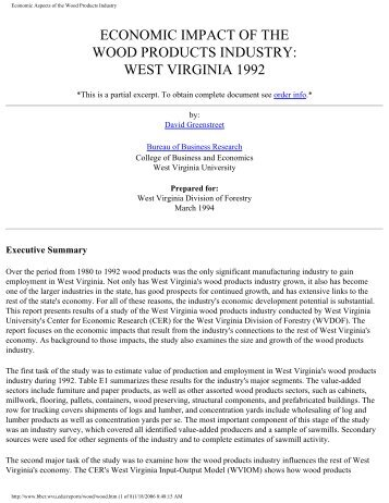 Economic Aspects of the Wood Products Industry - WVU College of ...