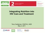 Integrating Nutrition into HIV Care and Treatment - A2Z: The USAID ...