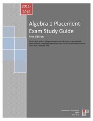 Algebra 1 Placement Exam Study Guide - Grand Prairie ...