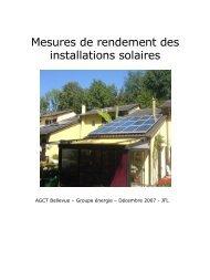 Mesures de performance des installations solaires