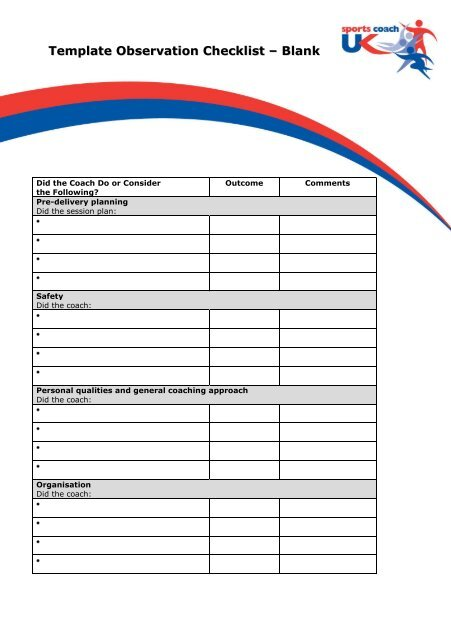 Template Observation Checklist (blank) pdf - sports coach UK