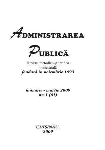 "Revista ""Administrarea publică"" ianuarie – martie 2009 nr. 1"