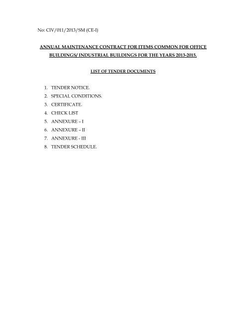 No: CIV/011/2013/SM (CE-I) ANNUAL ... - Tenders India