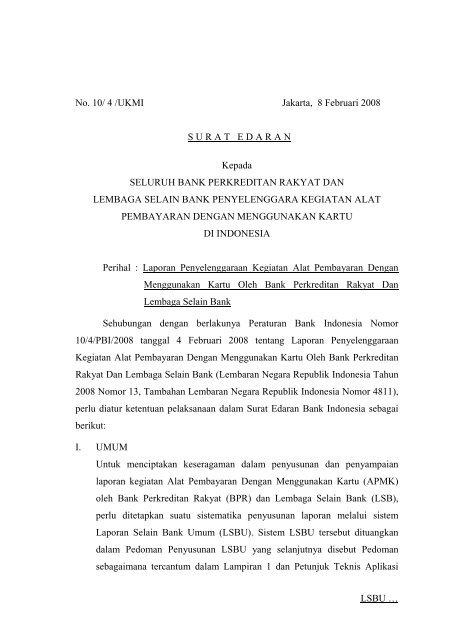 Laporan Penyelenggaraan Kegiatan Alat Bank Indonesia