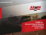 AXMIN Inc. Annual & Special Meeting of Shareholders June 7, 2013