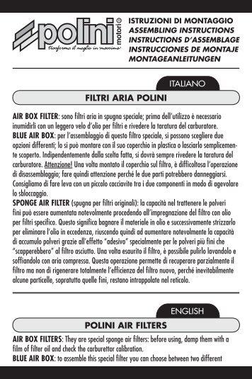 POLINI AIR FILTERS FILTRI ARIA POLINI