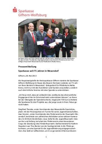 Pressemitteilung Sparkasse seit 75 Jahren in Wesendorf