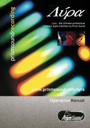 Lyra Operation Manual - Test and Measurement - Prism Sound
