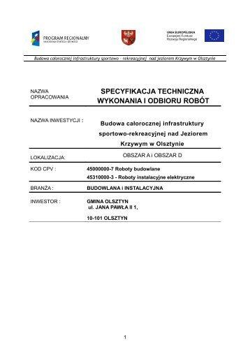 specyfikacja techniczna wykonania i odbioru robót - Biuletyn ...