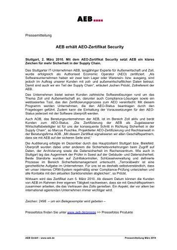 AEO F Zertifikat - REYHER