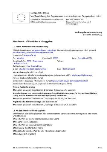 Vergabeverfahren Lettershop/Versandhandling und ... - Bayern