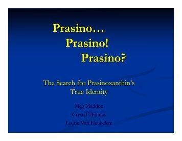 Quantitation Problems with Prasinoxanthin - Ocean Color