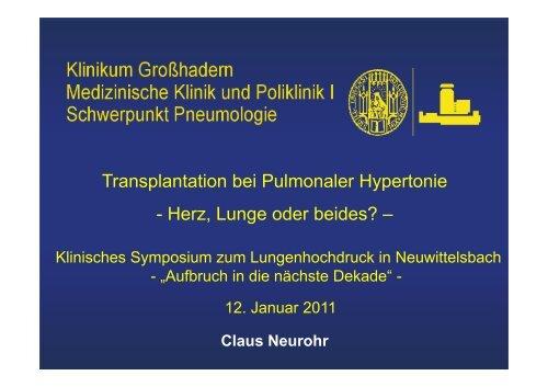 Lungentransplantation bei Lungenhochdruck