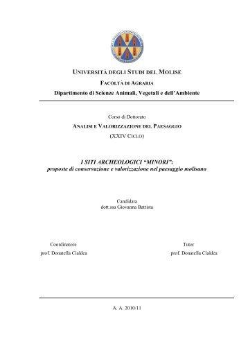 """I SITI ARCHEOLOGICI """"MINORI"""" - Università degli Studi del Molise"""