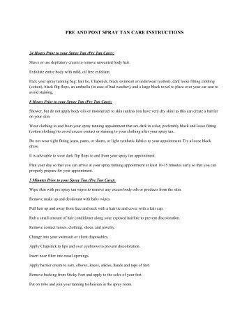 PRE AND POST SPRAY TAN CARE INSTRUCTIONS - Prima Salon