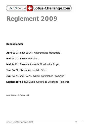 Reglement 2009 - Racedata