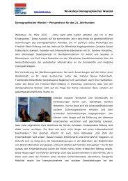 Workshop Demographischer Wandel