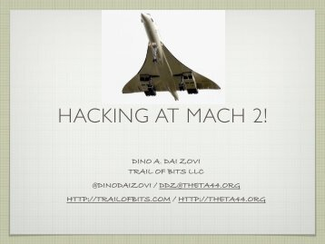 hacking at mach 2! [pdf] - Reverse Engineering Mac OS X