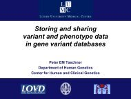 Storing and sharing variant and phenotype data in gene variant ...