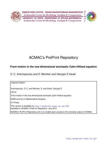 Download (452Kb) - ACMAC's PrePrint Repository