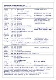 Hinweise für den Monat August 2005