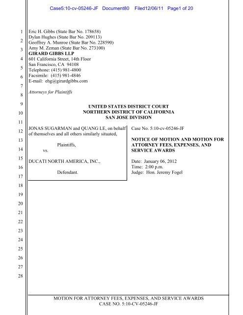 Motion for Attorneys' Fees - Girard Gibbs LLP