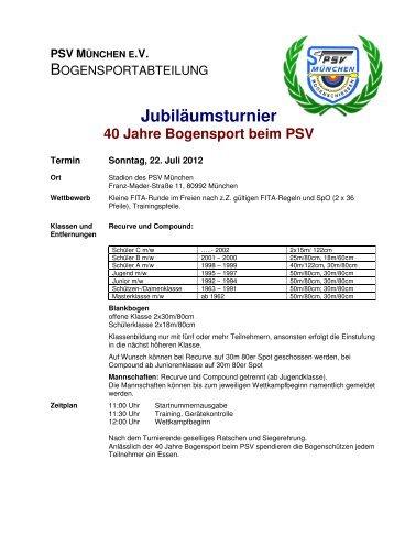 komplette Ausschreibung - Bogen PSV - Anmeldung Indoor Turnier