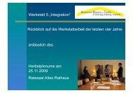 """Werkstatt 5 """"Integration"""" - Gladbecker Bündnis für Familie"""