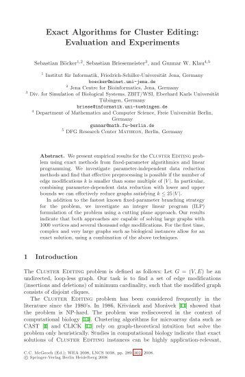 Exact Algorithms for Cluster Editing: Evaluation and ... - Springer