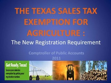 the texas sales tax exemption for agriculture - Texas Comptroller of ...