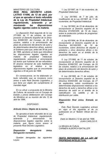 Real Decreto Legislativo 1/1996, de 12 de abril