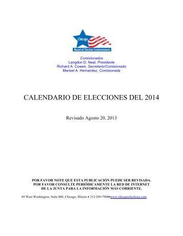 CALENDARIO DE ELECCIONES DEL 2014 - ChicagoElections.com