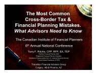 The Most Common Cross-Border Tax & Financial Planning ... - CIFPs