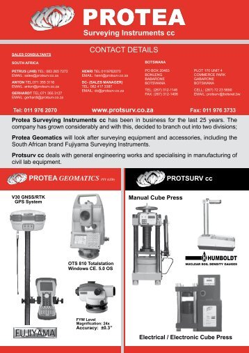protea geomatics pty (ltd) - Survey Instruments