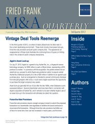 Fried Frank M&A Quarterly™ October 2012