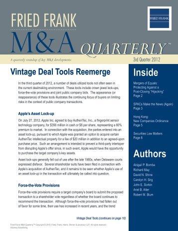 Fried Frank M&A Quarterly™ October 2012