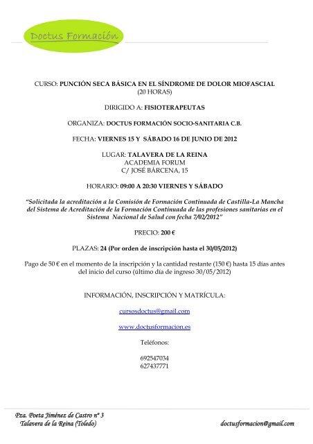 Información curso punción seca.pdf - Fisaude