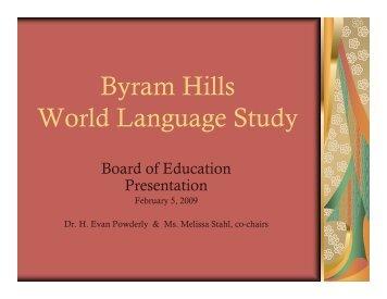 World Languages Study - Byram School District