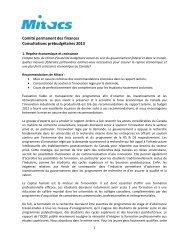 Comité permanent des finances Consultations ... - Mitacs